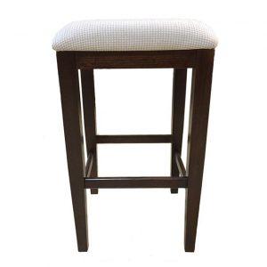 Naturally Timber 'Kobe' bar stool - Chocolate-stained Tasmanian Oak & Zander Mink fabric