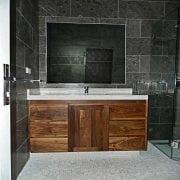 Naturally Timber custom design bathroom vanity - 1 door, 6 drawers, American Walnut