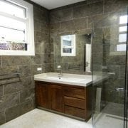 Naturally Timber custom design bathroom vanity - 2 doors, 3 drawers, American Walnut