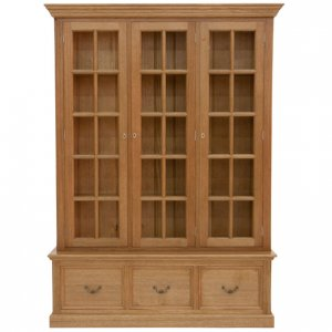 Astragal bookcase with 3 doors & 3 file drawers in Tasmanian Oak