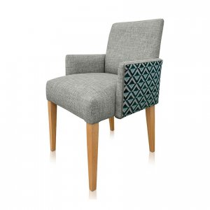 Leo carver chair in Warwick Nixon Cloud (front) and Warwick Delaunay Peacock (back) fabrics