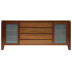 Contempo 2 glass-door 4-drawer sideboard in Tasmanian Blackwood