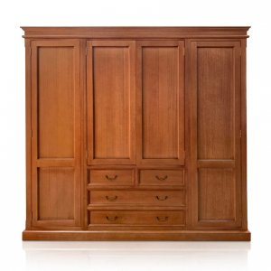 Classic wardrobe with 4 doors & 4 drawers in Maple-stained Tasmanian Oak