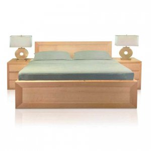 Amalfi bed in Tasmanian Oak natural with matching three drawer bedsides