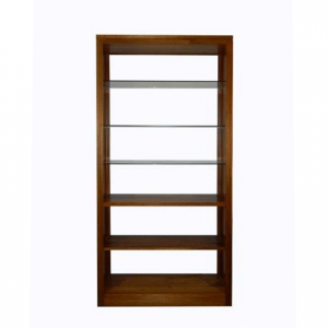 Naturally Timber 'Contempo' open-back bookcase - glass and timber shelves, Tasmanian Blackwood