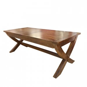 Mango Creek double-extension cross-leg table - closed