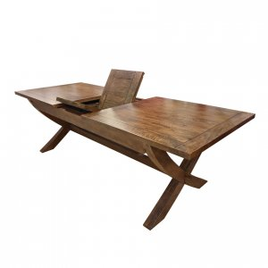 Mango Creek double-extension cross-leg table - transition to extension