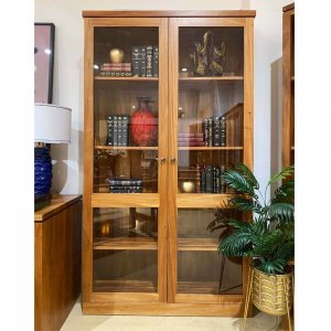 Studio bookcase with 2 doors in Fijian Mahogany