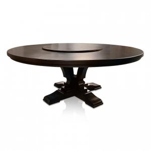 Madrid round dining table in black-stained American Oak with optional Lazy Susan