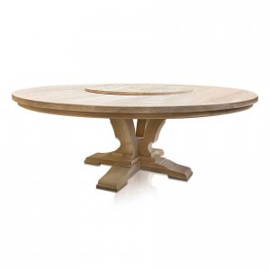 Madrid round dining table in unstained American Oak with optional Lazy Susan