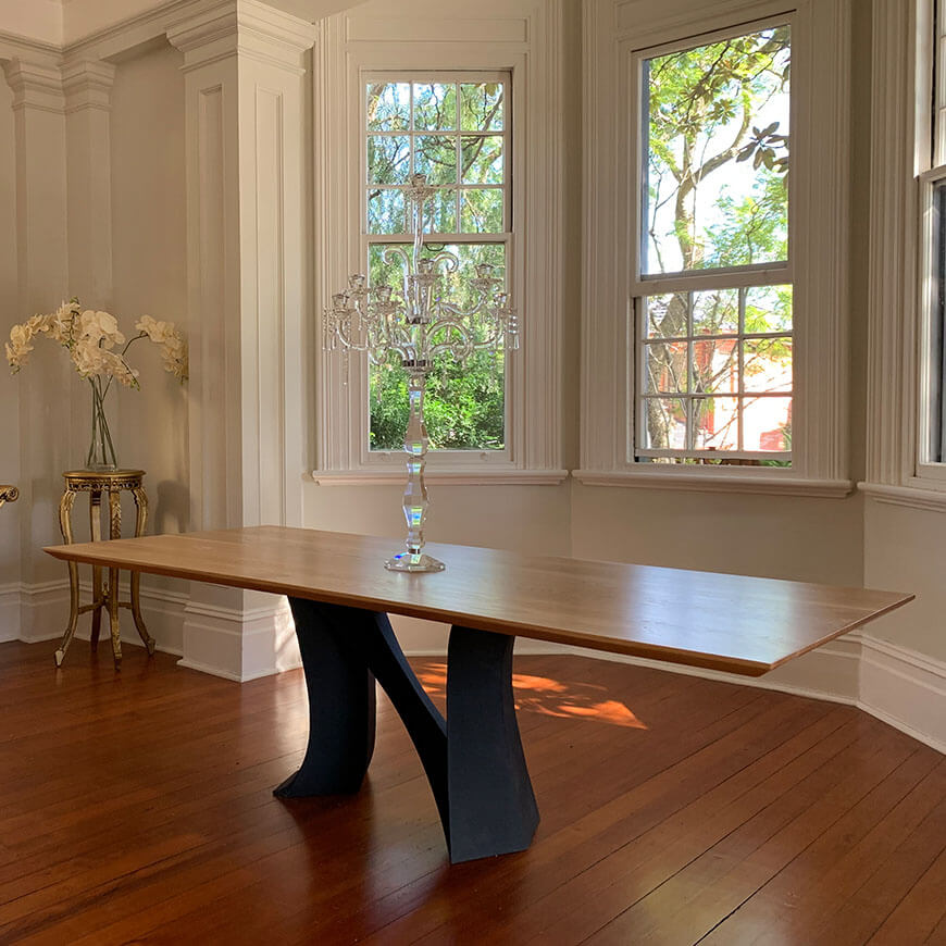 Custom dining table in American Oak with Neve Signature series base