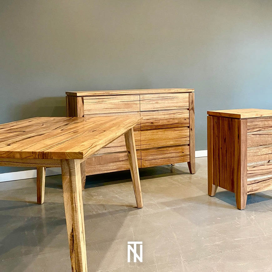 Custom Emporium dining table, Contempo chest and bedside in Western Australian Marri